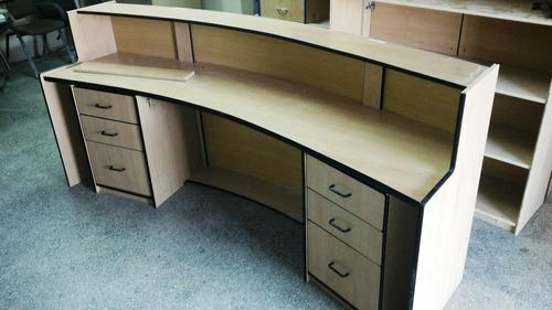 mueble de recepcion 240x110x060x075 arce c/canto negro