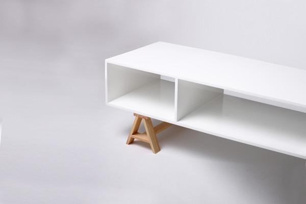 Mueble De Tv Acero Madera Diseño Moderno Minimalista Blanco - $ 2,999.00 en M...