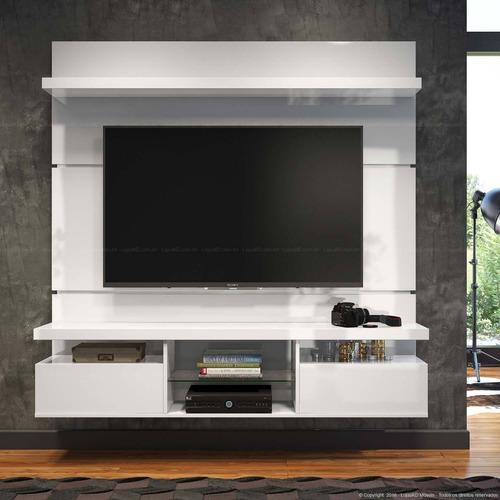 mueble de tv con panel  oculta cables lacado ref: mural21
