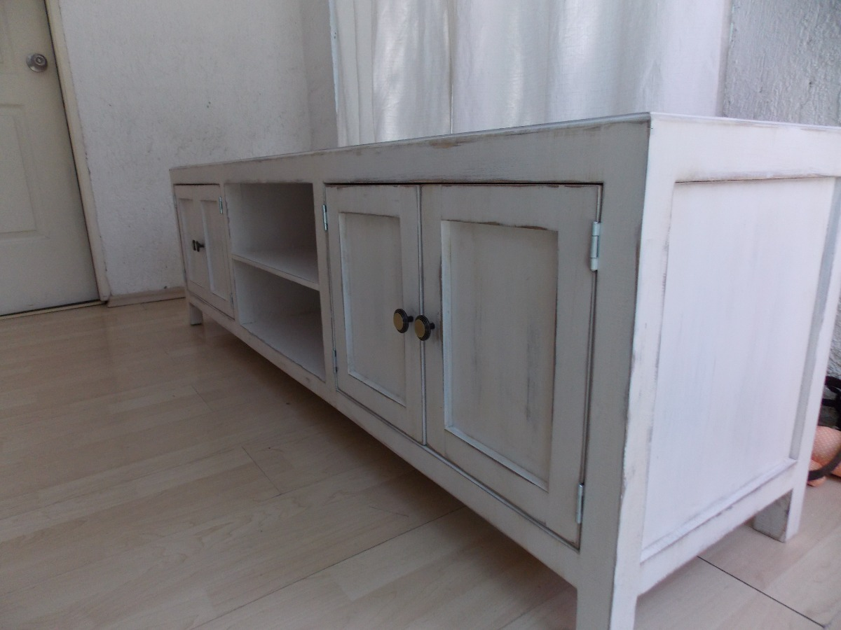 Mueble de tv estilo vintage color blanco antiguo decapado for Colores vintage para muebles