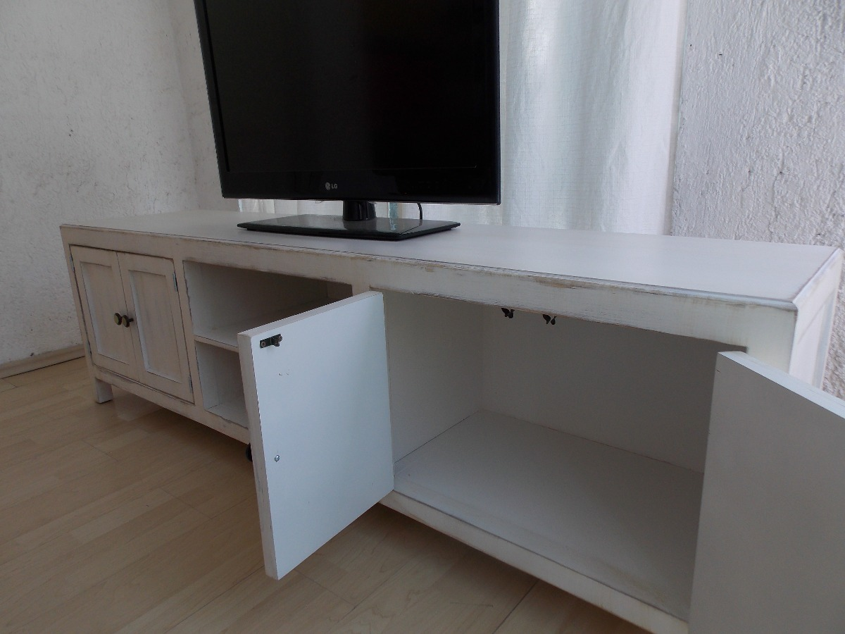 Mueble de tv estilo vintage color blanco antiguo decapado 4 en mercado libre - Mueble tv blanco ...