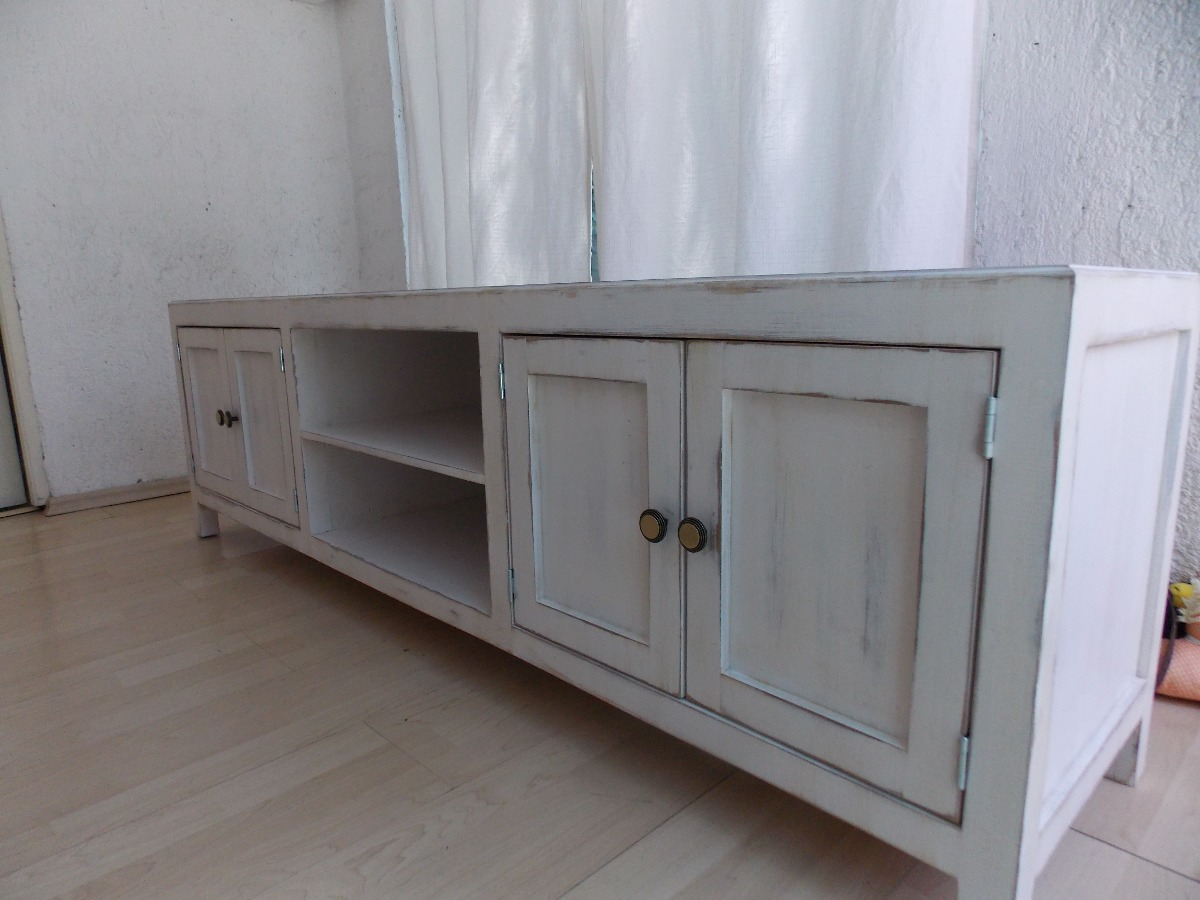 Mueble De Tv Estilo Vintage Color Blanco Antiguo Decapado  $ 4,20000