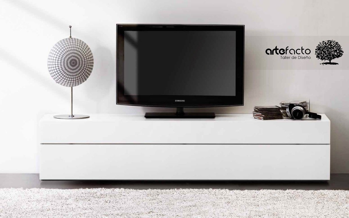 Mueble de tv minimalista laca o madera para pantalla lcd - Muebles para televisiones planas ...
