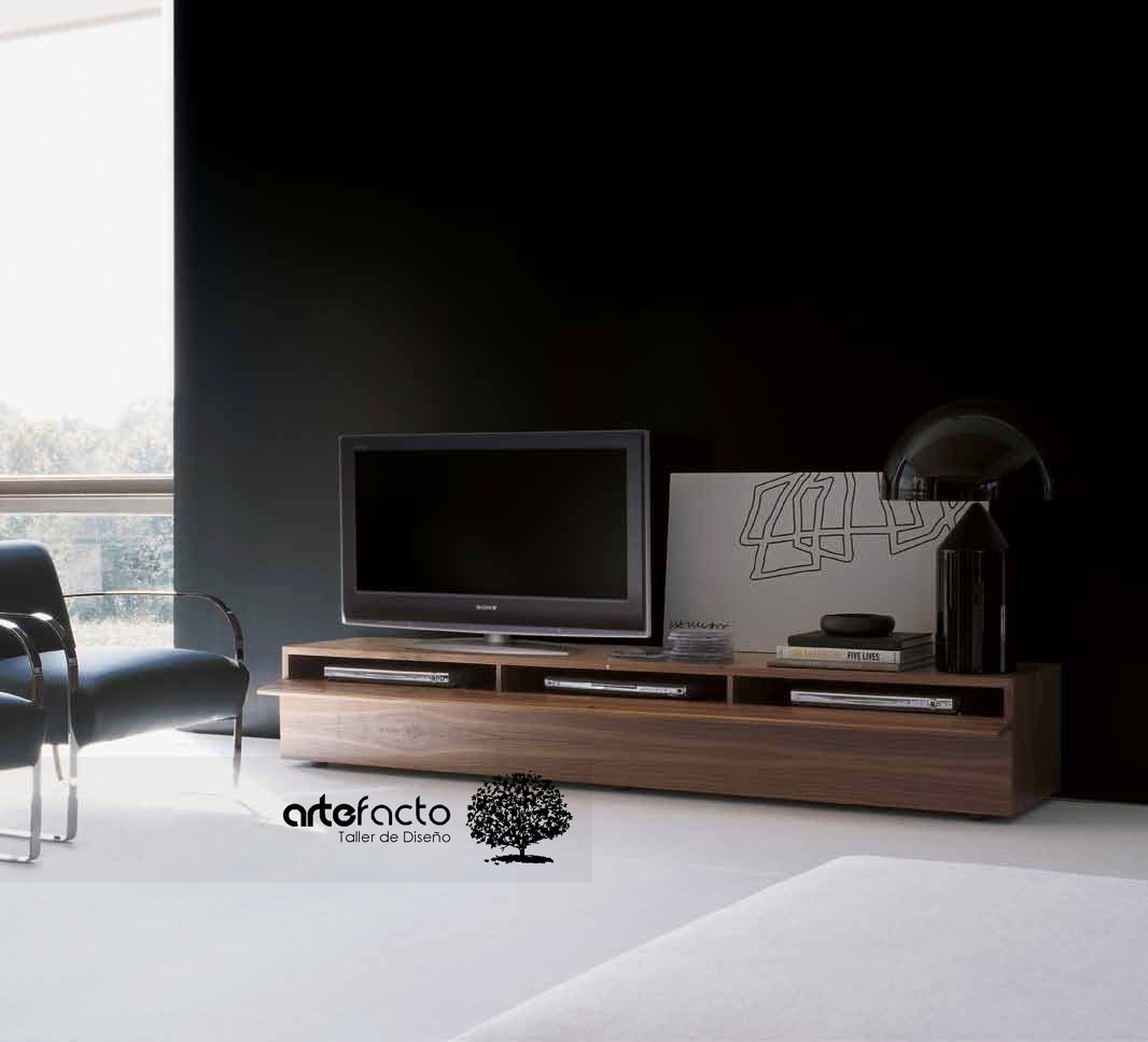 Mueble de tv minimalista laca o madera para pantalla lcd led 4 en mercado libre - Muebles para tv minimalistas ...