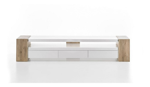 mueble de tv moderno lacado y madera natural  ref: lan