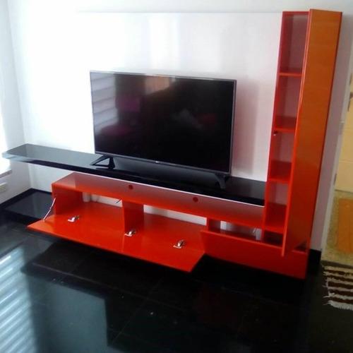 mueble de tv ref: mural44 con panel para ocultar cables