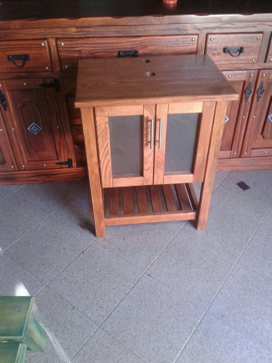 Mueble en madera maciza r stica para bacha de ba o en mercado libre - Muebles bano madera maciza ...