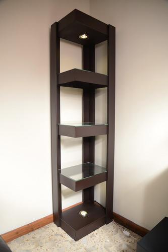 mueble esquinero con luz de madera mdf