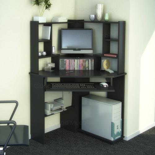 mueble esquinero para pc escritorio con alzada