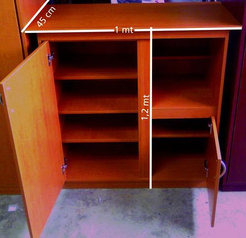 mueble estante biblioteca con repisas y puertas en melamina