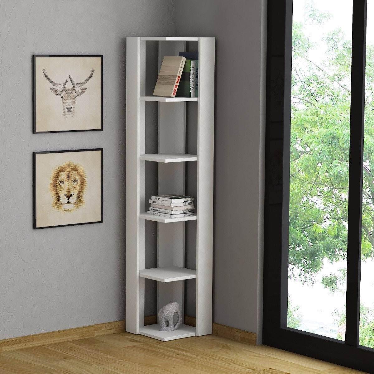 Mueble estante esquinero de melamina para sala for Bar de madera para sala