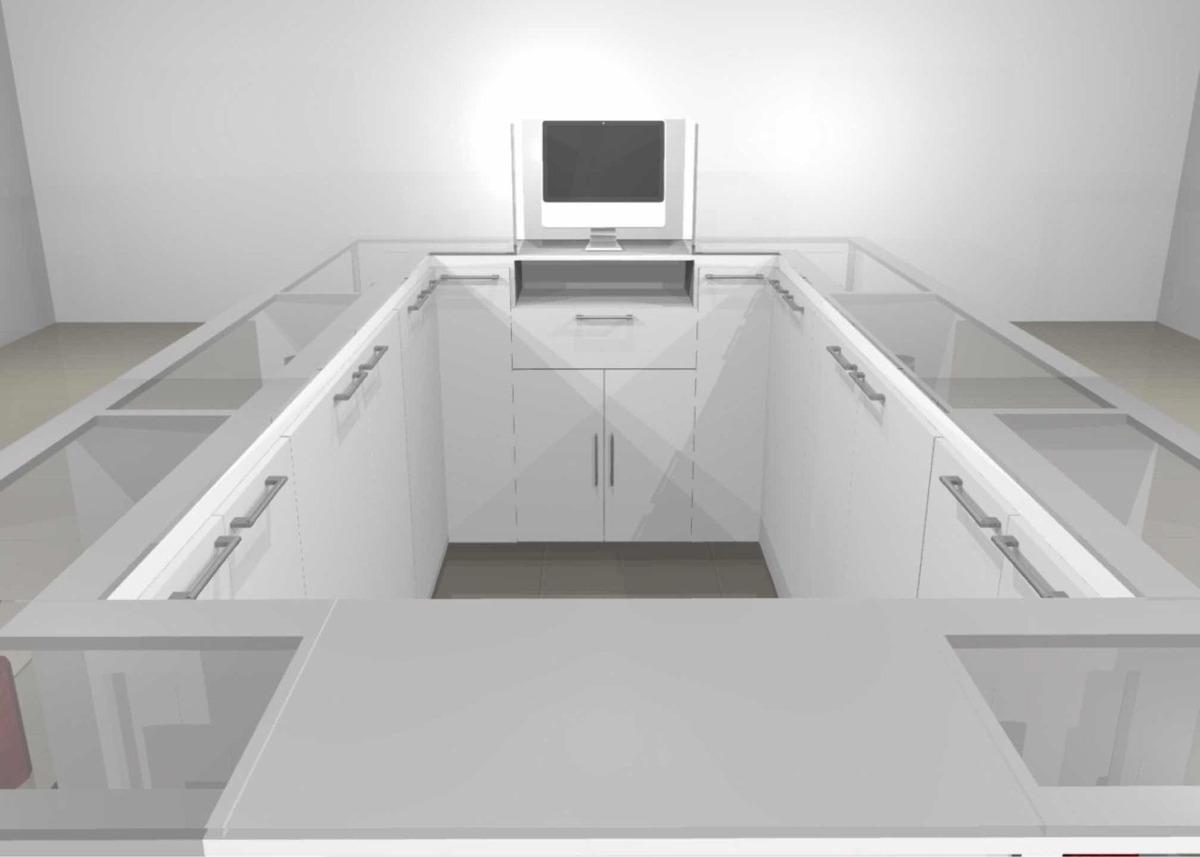 mueble exhibidor tipo burbuja
