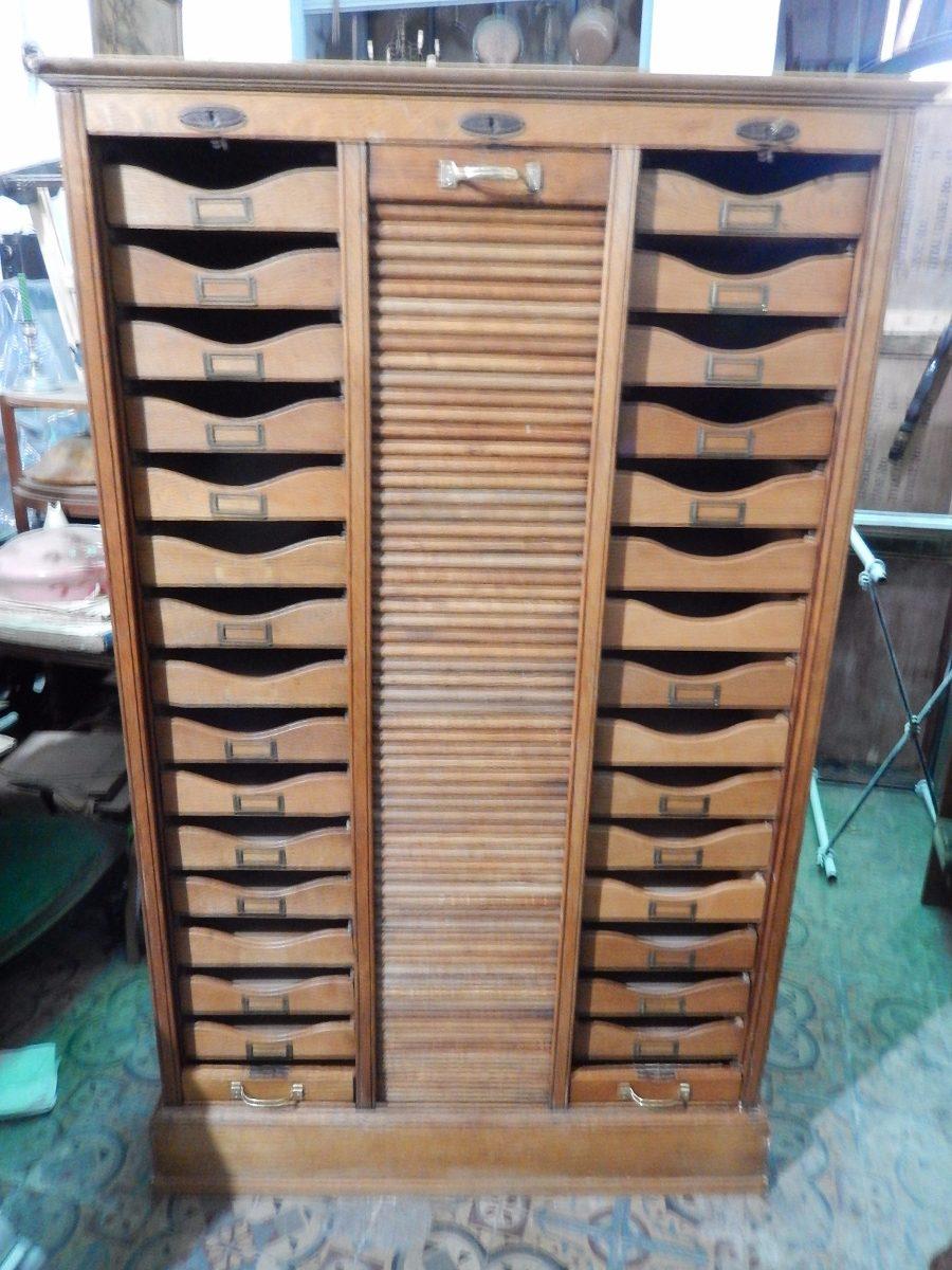 Mueble Fichero Roble Americano Cortina 45 Cajones Industrial U S  # Muebles Ficheros