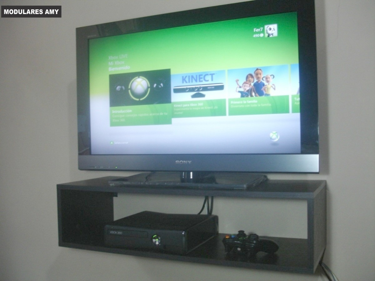 Mueble Flotante 80 Cm Para Tv Lcd Led Xbox360 Bluray Ps3 U S  # Muebles Para Xbox