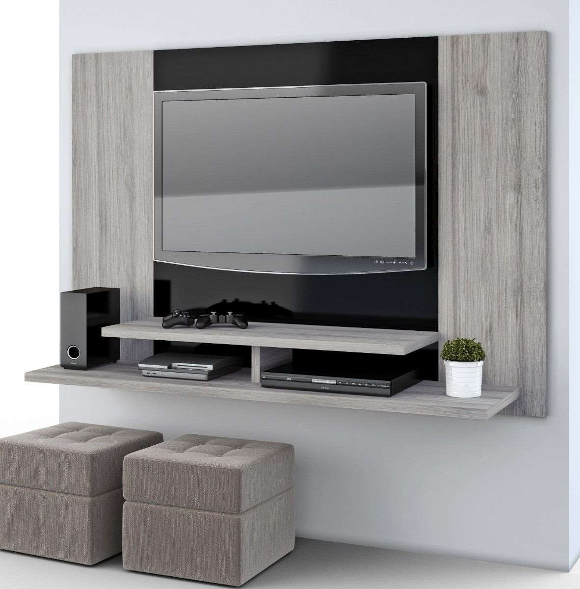 Mueble flotante para tv moderno ref manhatan for Muebles modernos living para tv