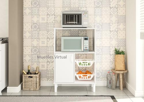 mueble frutero con estante para microondas