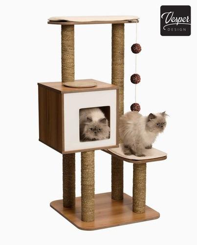 mueble gatos vesper high base negro cat it + envío gratis