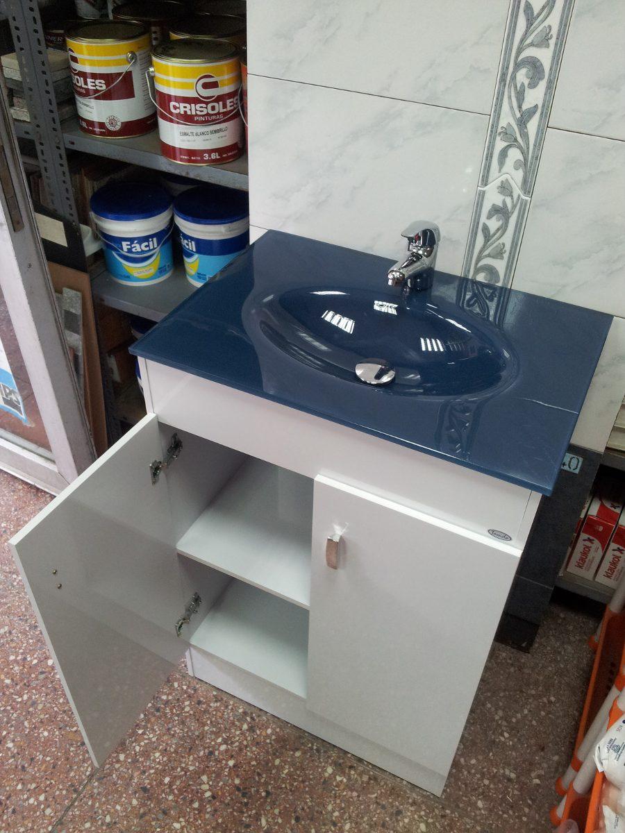 Mueble grande para ba o bacha vidrio azul en for Muebles de bano azul