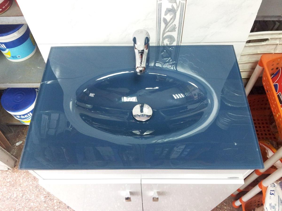 Bachas Para Baño Roca:Mueble Grande Para Baño Bacha Vidrio Color Azul Piedra – $ 5500,00
