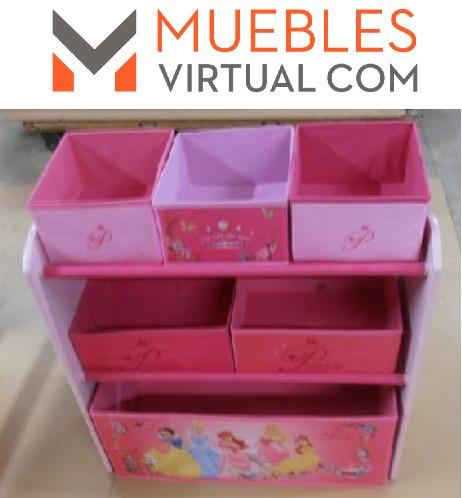 mueble infantil disney -organizador con 6 caj.tela princesas