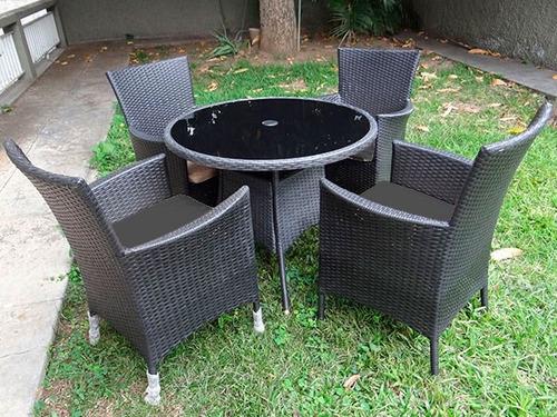 mueble juego negro de rattan sintetico 1 mesa 4 sillas suxes