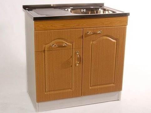 mueble lavaplatos blanco-café puertas termolaminada completo