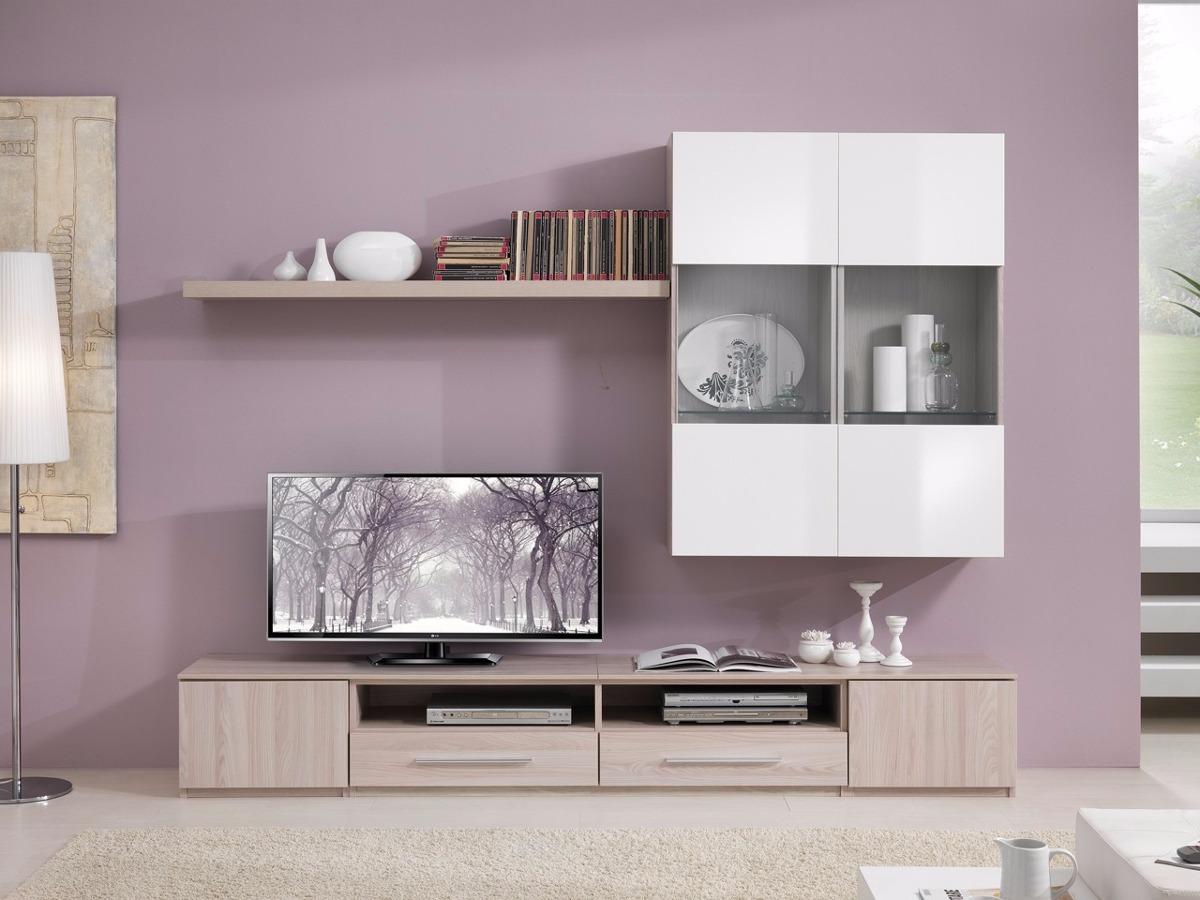Mueble Lcd Mesa Tv Modular Led Rack Moderno Bergamo 2 00 Mt  # Muebles Cipriano Lanus
