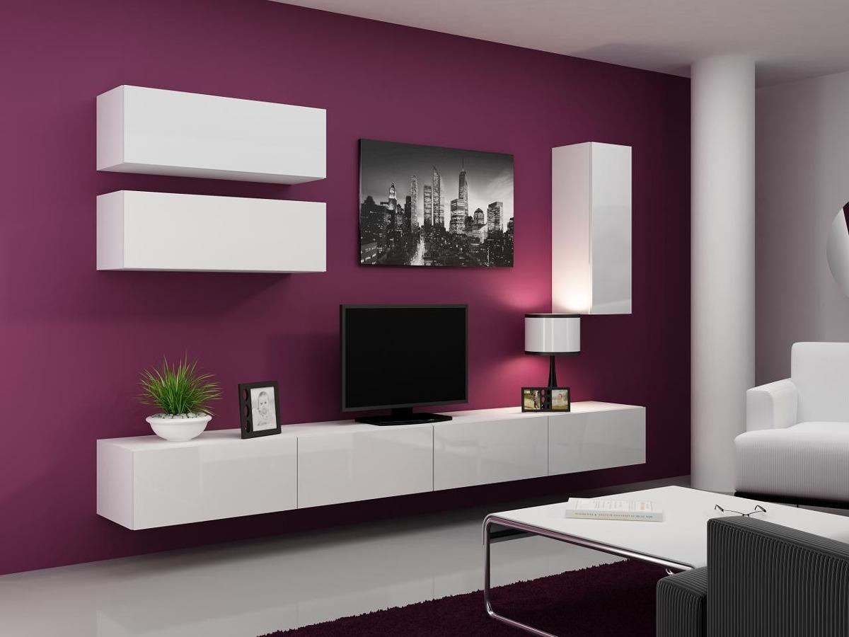 Mueble Lcd Mesa Tvvajillero Modular Led Laqueado Brillante  # Muebles Cipriano Lanus