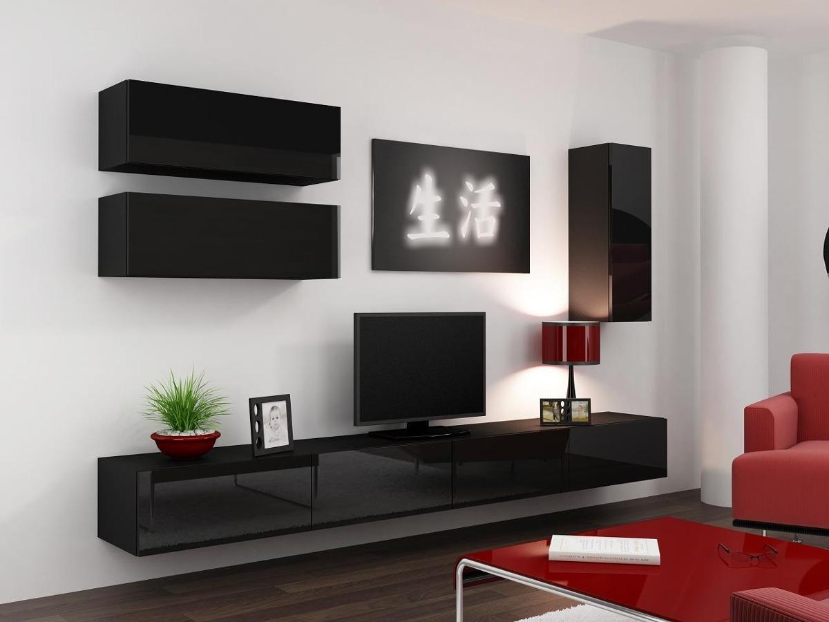 Mueble Lcd Mesa Tvvajillero Modular Led Laqueado Brillante  # Muebles Cipriano