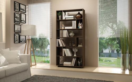 mueble librero 6 niveles brv moveis  nuevo castaño be 44-164