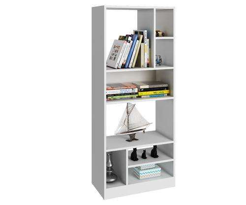 mueble librero blanco con cubos y repisas be 840-06