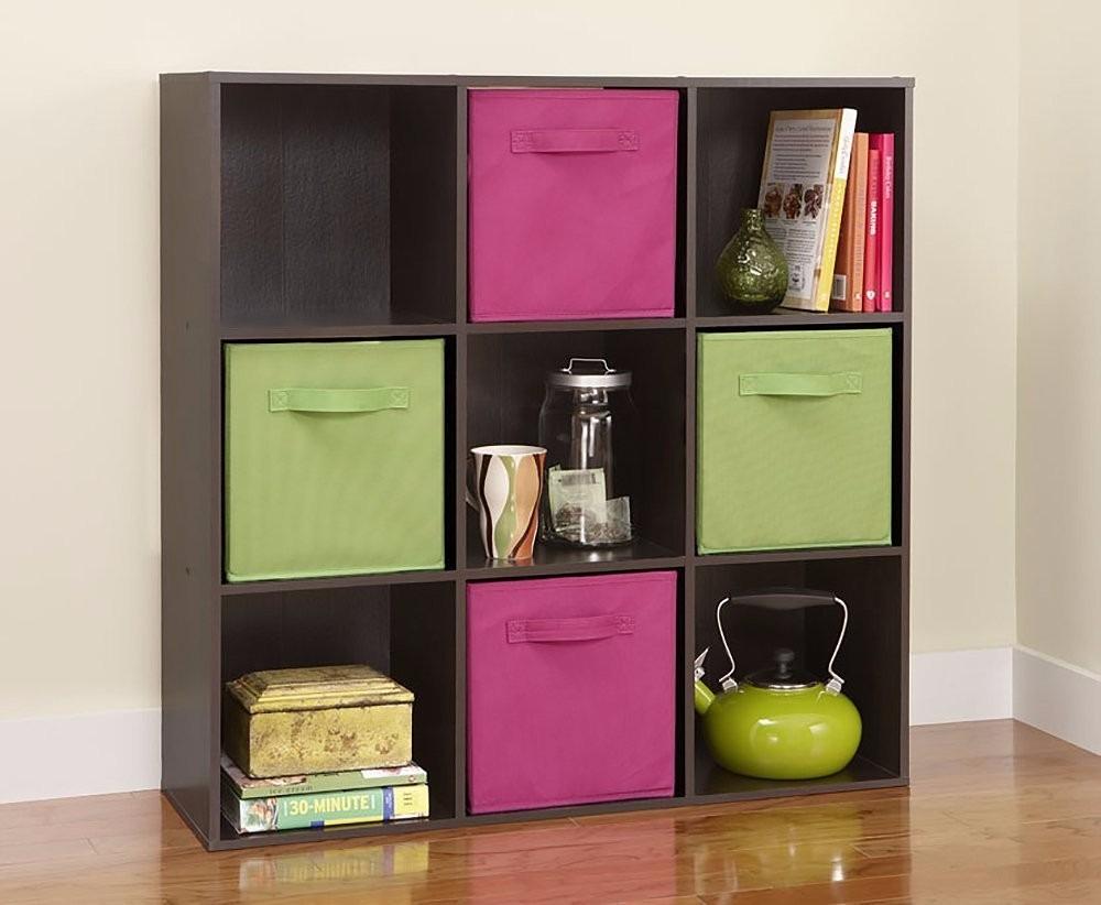 mueble librero organizador maid 9 cubos color negro y