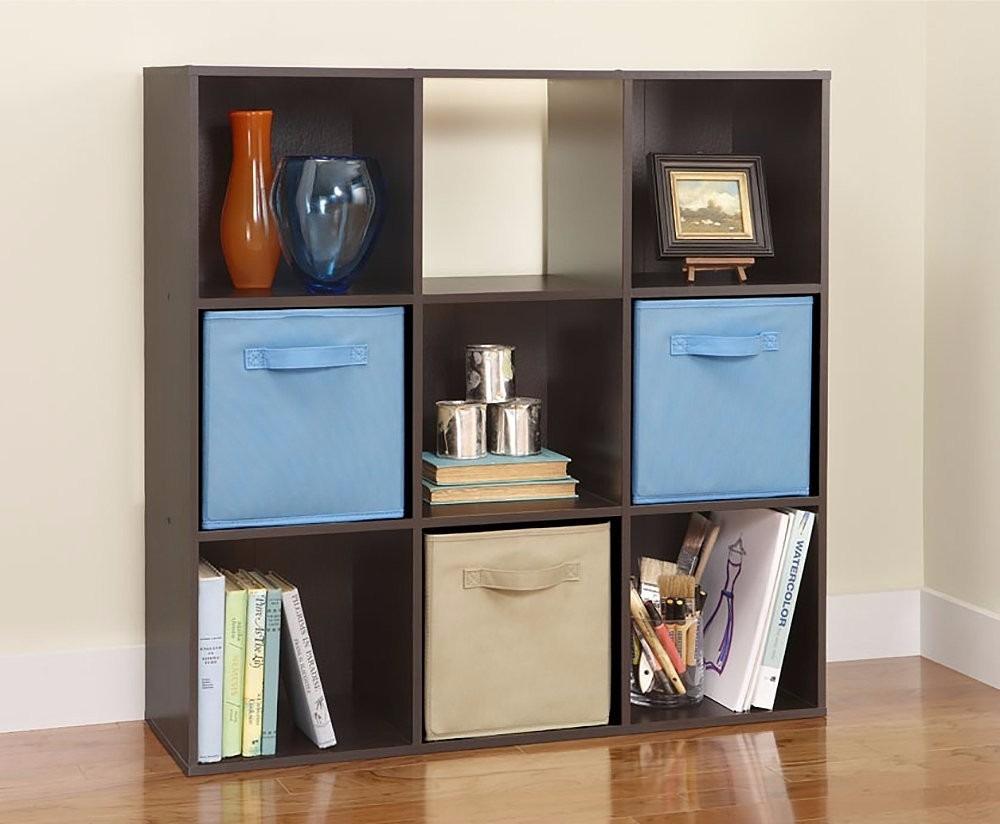Mueble librero organizador maid 9 cubos color negro y for Mueble organizador