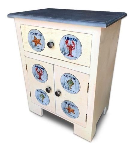 mueble madera con cerámicas marinas línea vintage