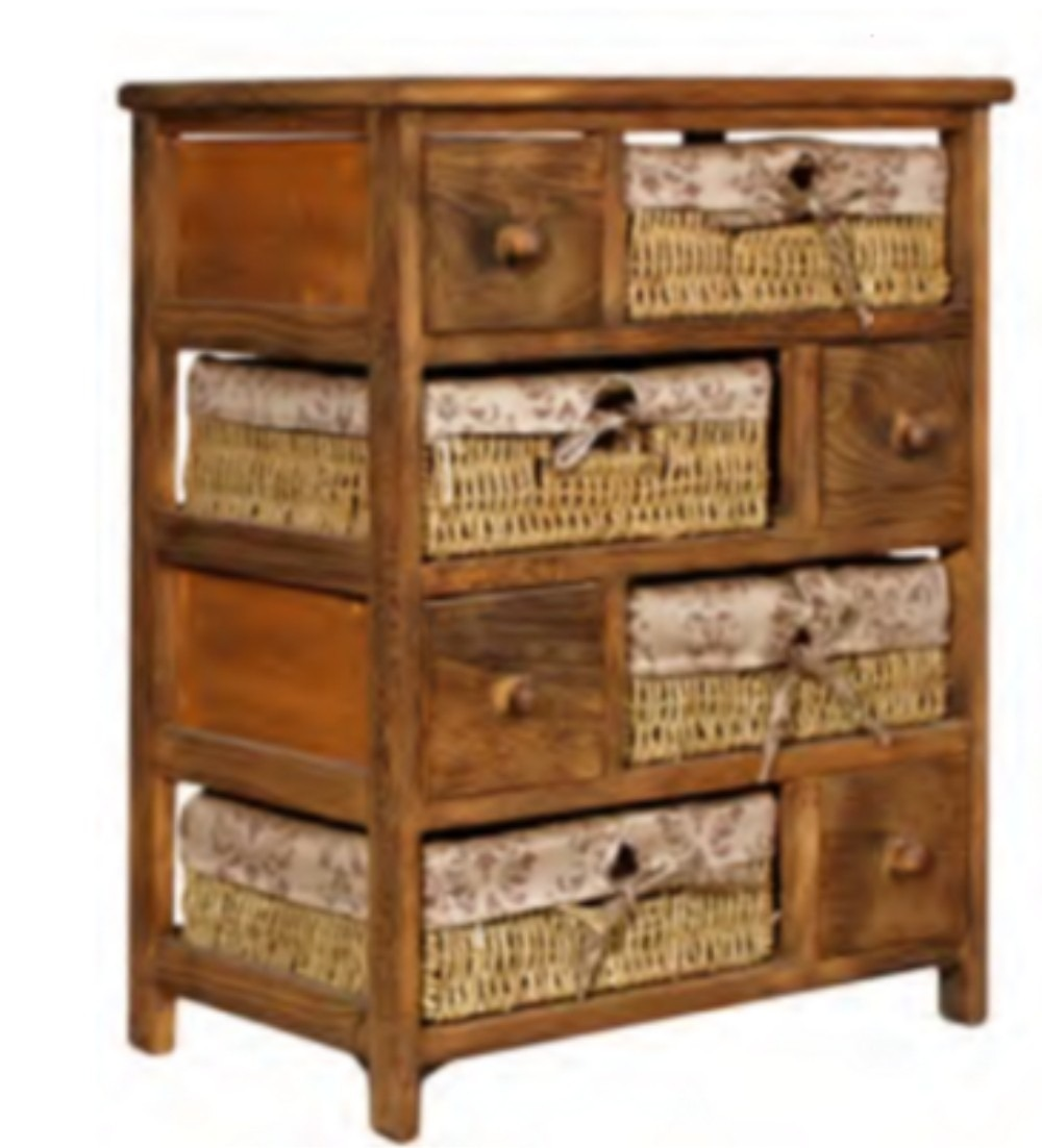 Mueble madera y rat n 4 canastos 4 caj 59x48x28 for Muebles madera montevideo