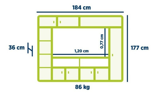 mueble modular tv led platinum mod 557 varios colores