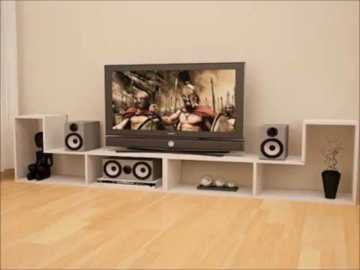 Mueble modular tv plane minimalista bs en for Mueble tv minimalista