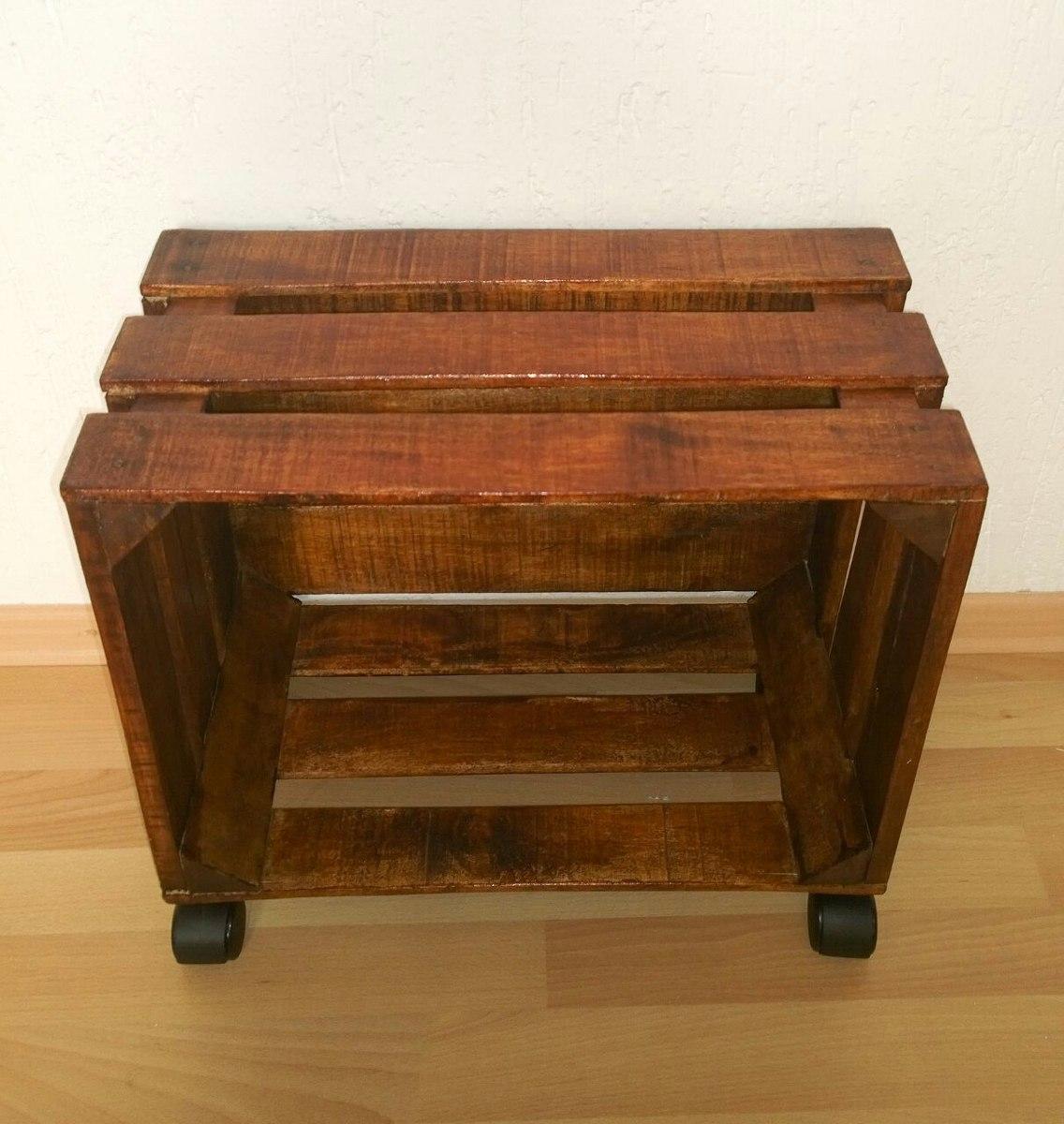 Mueble o librero con ruedas de madera tipo huacal 499 - Tipos de barnices para madera ...