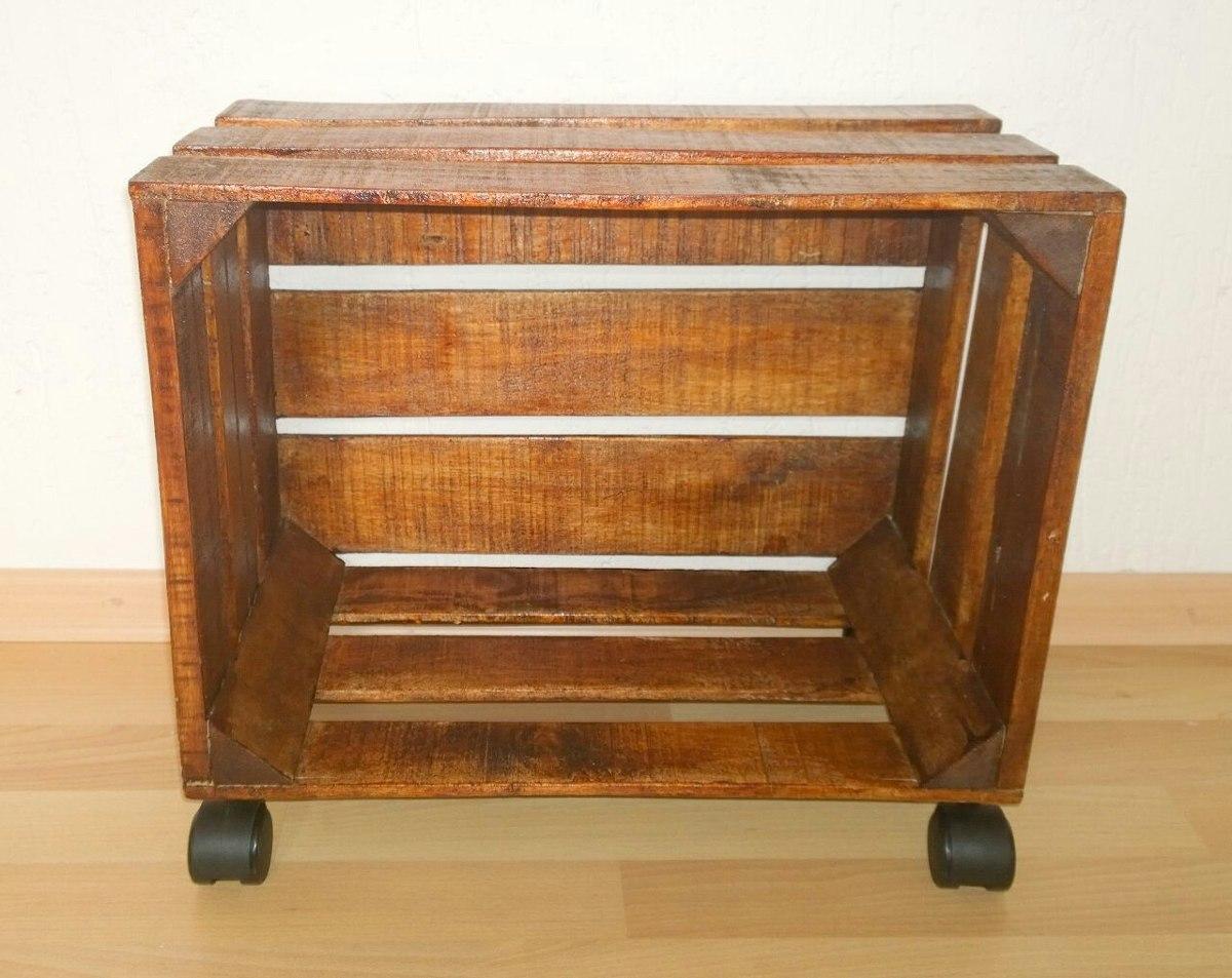 Mueble o librero con ruedas de madera tipo huacal 499 - Ruedas para mueble ...