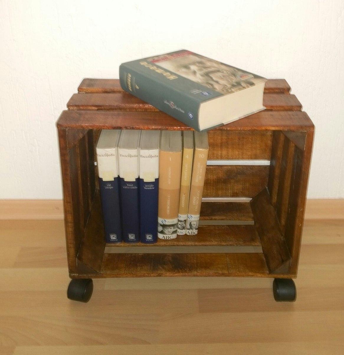 Mueble o librero con ruedas de madera tipo huacal 499 for Como hacer muebles para sala