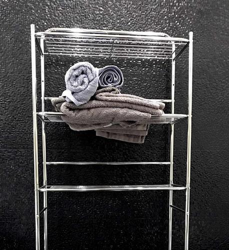 mueble organizador de baño cromado acero metal sobre inodoro