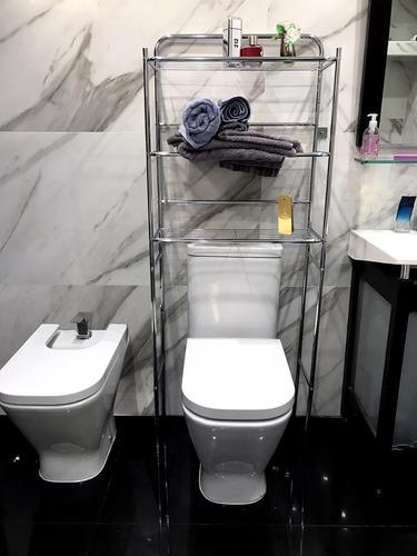 mueble organizador de baño tres niveles acero sobre inodoro