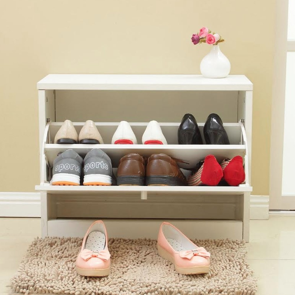 Mueble organizador de zapatos blanco 2 niveles rebajas for Muebles para colocar zapatos