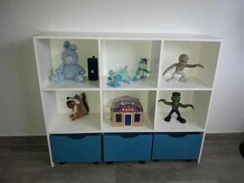 mueble organizador juguetero con ruedas infantil