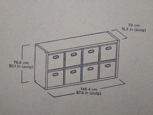mueble organizador roble oscuro 8 cubos apilables pb y mdf