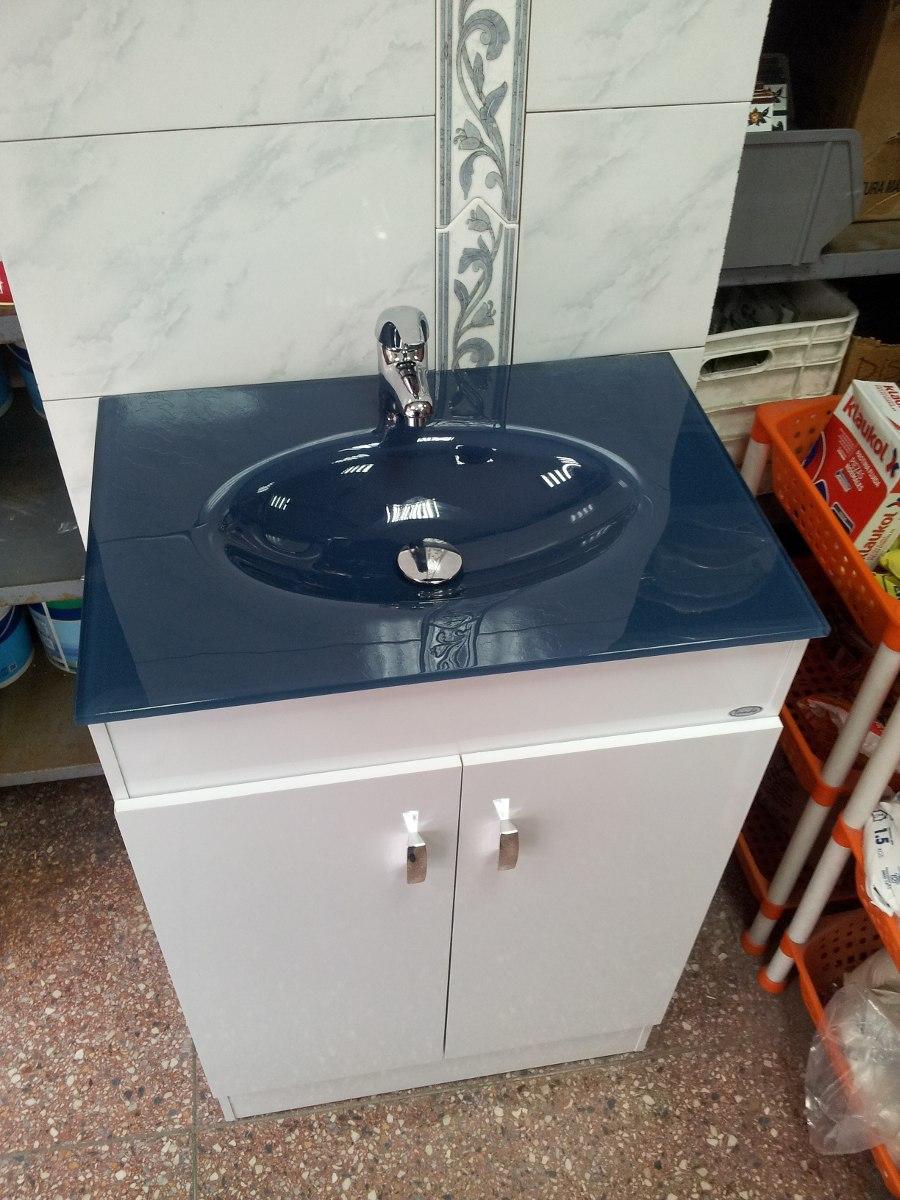 Mueble grande para ba o bacha vidrio azul en for Lavatorio cocina