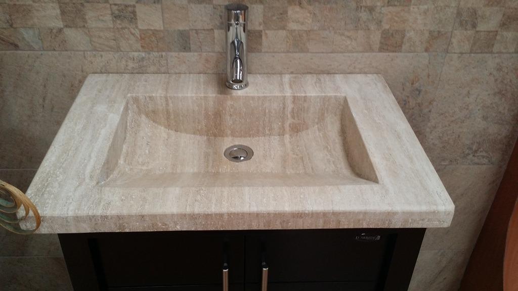 Mueble para ba o chocolate mdf con lavabo de marmol teresa for Mueble bano con lavabo