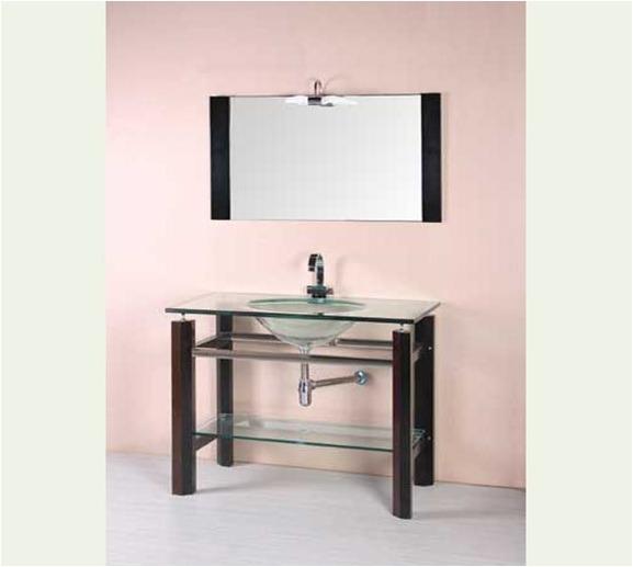 Mueble para ba o con espejo madera y vidrio mesada y for Mueble con espejo para bano