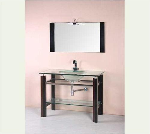 Mueble para ba o con espejo madera y vidrio mesada y for Muebles madera montevideo