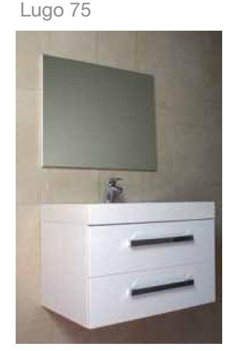 Mueble para ba o con espejo y lavabo castel lugo 75 for Mueble con espejo para bano